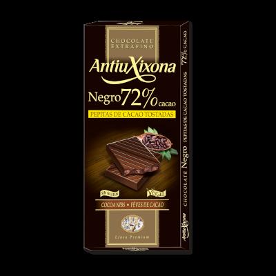Chocolate Negro 72% Cacao Pepitas de Cacao Tostadas