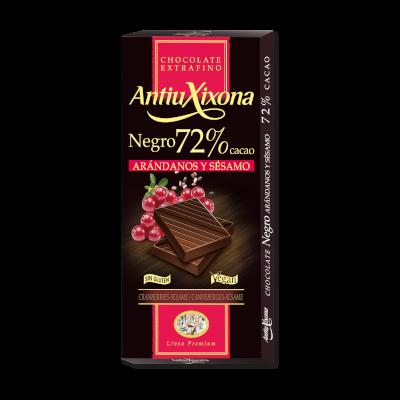 Chocolate Negro 72% Cacao Arándanos y Sésamo