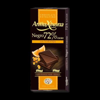 Chocolate Negro 72% Cacao con Naranja